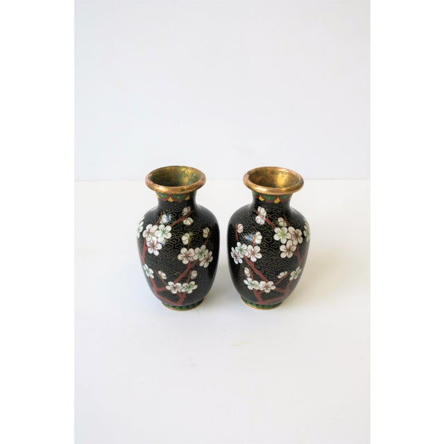 Black Black White and Ox Blood Cloisonne and Brass Vases For Sale - Image 8 of 13