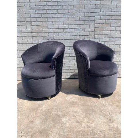 Metal Mid Century Modern Sculptural Directional Barrel Chairs on Casters Newly Uphostered - Pair For Sale - Image 7 of 12