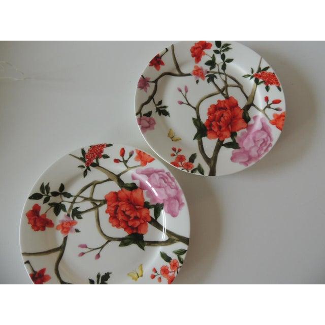 Modern Set of (3) Floral Bone China Dessert Plates For Sale - Image 3 of 5