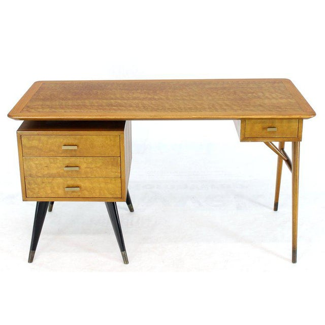Mid-Century Modern Italian Birch Tiger Maple Exposed Sculptural Legs One Pedestal 4 Drawers Desk For Sale - Image 3 of 13