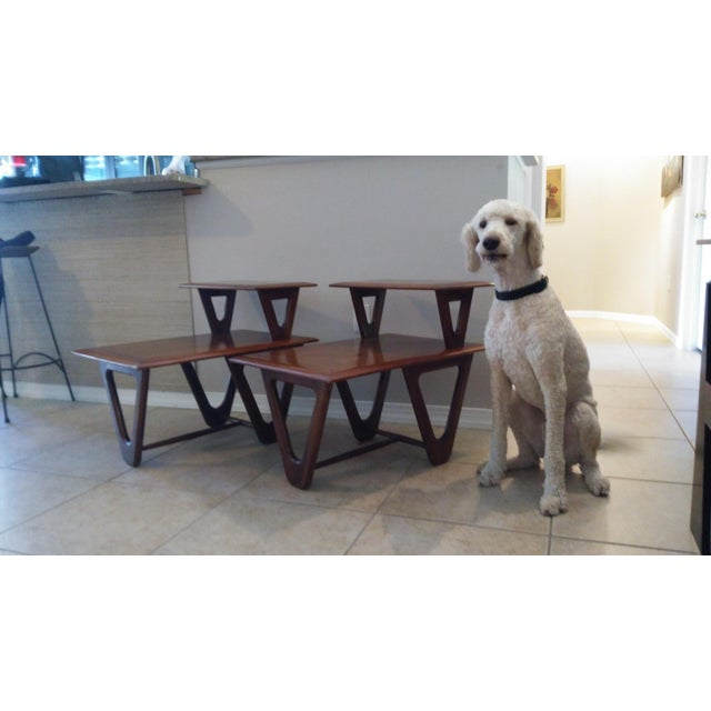 Mid-Century Modern Tiered Walnut Side Tables - Pair - Image 8 of 8
