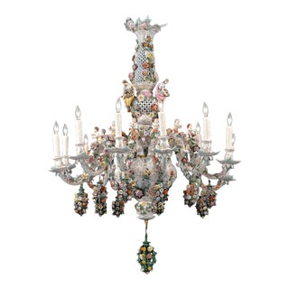 Meissen Porcelain 12-Light Chandelier For Sale