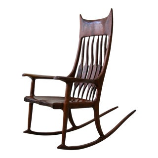 Sculpted Wood Studio Rocking Chair After Sam Maloof For Sale