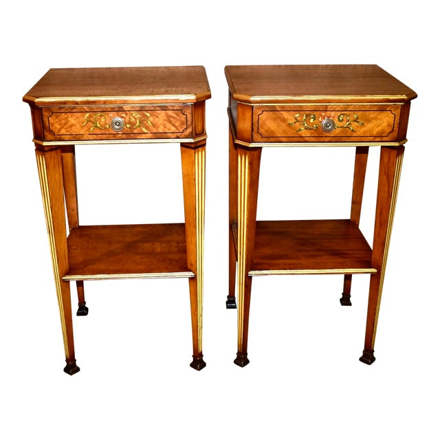Antique French Satinwood Side Tables with Painted Designs - a Pair For Sale