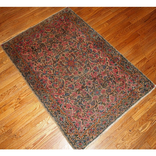 1920s 1920s Hand Made Antique Persian Kerman Rug 3.2' X 4.9' For Sale - Image 5 of 7