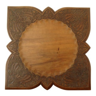 Early 20th Century Wood Hand Carved Tray Plate For Sale