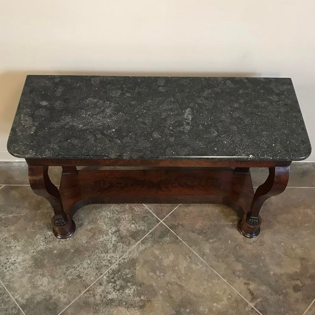 19th Century French Louis Philippe Marble Top Mahogany Console For Sale In Baton Rouge - Image 6 of 7