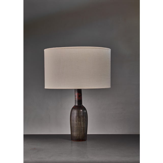 Mid-Century Modern Carl-Harry Stalhane Ceramic Table Lamp For Sale - Image 3 of 3