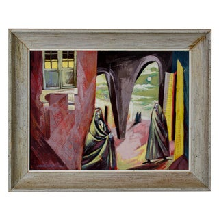 1920s Surrealist Oil on Board, by Barbara Warren Weismann For Sale