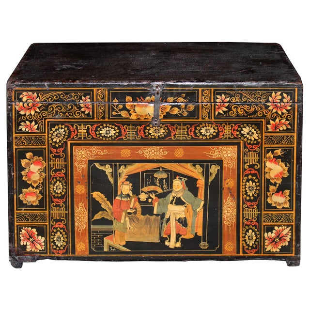 Wood 1920s Antique Painted Wedding Trunk For Sale - Image 7 of 7