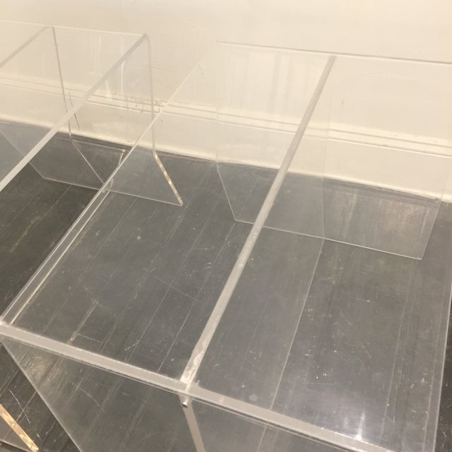 Transparent 1970s Modern Charles Hollis Jones Lucite Side Tables - a Pair For Sale - Image 8 of 10