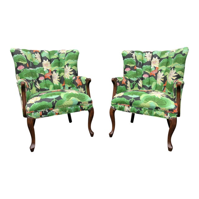 Carved Wood Upholstered Koi Fabric Scallop Back Chairs - Set of 2 For Sale
