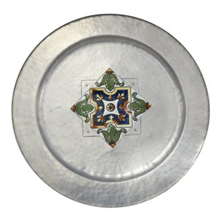 Large Hand Wrought Aluminum Mw Laird Argental Tray Charger With Ceramic Tile Center For Sale