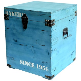 Blue Wooden Cube Box, Side Table, Bakery Print New For Sale