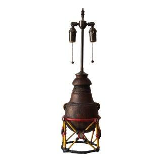 Vintage Late 20th Century Wood Tuareg Vessel Lamp For Sale