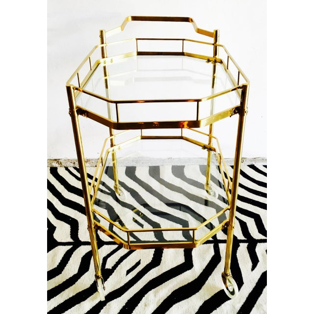 1960's French Brass Bar Cart - Image 4 of 6