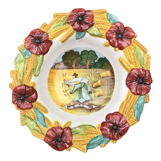 Mid-20th Century Italian Hand-Painted Ceramic Decorative Bowl For Sale