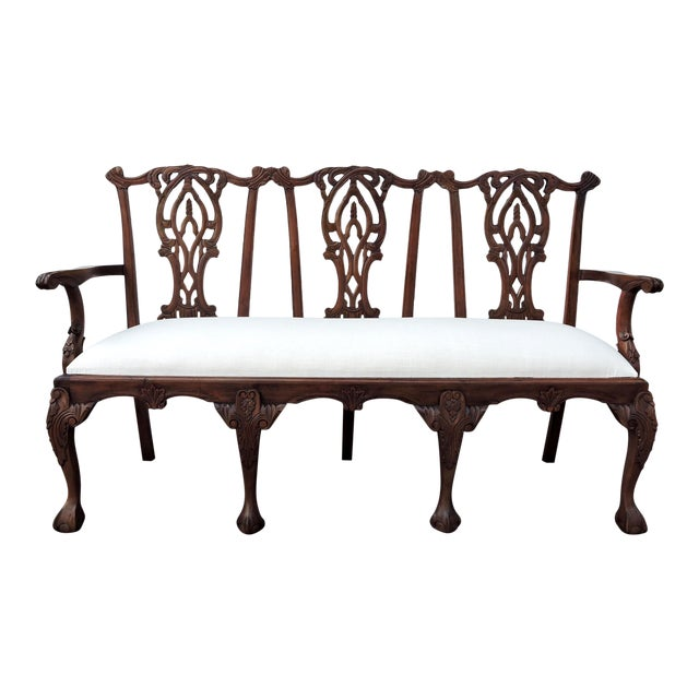 Antique Three Seat Upholstered Chippendale Bench Settee For Sale