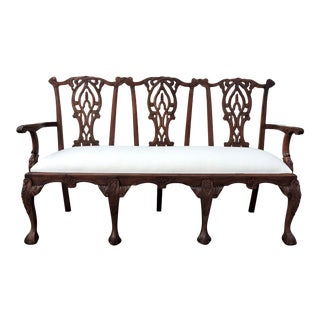 Antique Triple Seat Upholstered Chippendale Bench Settee For Sale