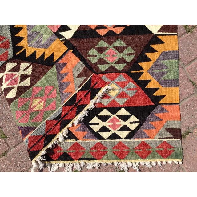 Colorful Vintage Turkish Kilim Rug For Sale - Image 9 of 10