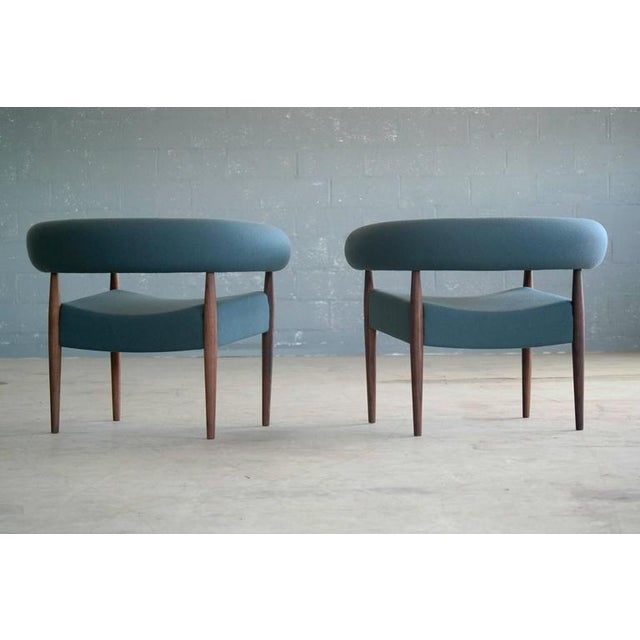 Blue Nanna Ditzel for Getama Ring Chairs in Walnut and Wool - a Pair For Sale - Image 8 of 12