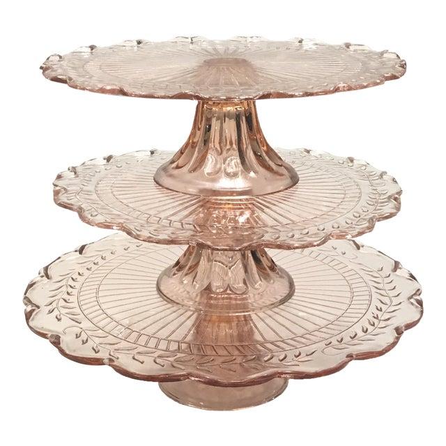 Pink Depression Glass Pedestal Cake Plates - Set of 3 - Image 1 of 8