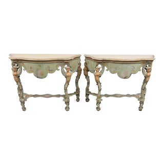 Italian Paint Decorated Carved Demilune Consoles - a Pair For Sale