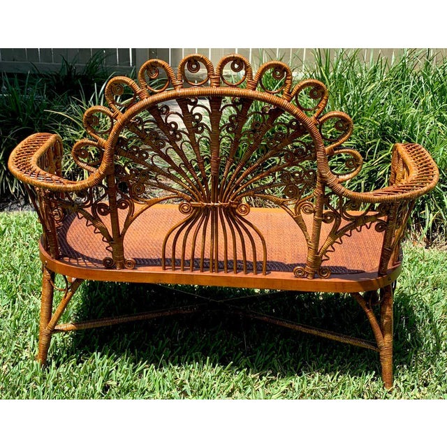 19th Century High Victorian Wicker Parlour Set - Set of 6 For Sale - Image 5 of 13