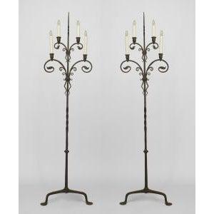 Pair of American Victorian (1910) wrought iron 4 light candlestands For Sale - Image 5 of 5