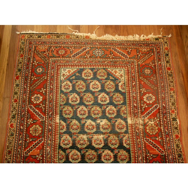 "Long Vintage Hand-Knotted Wool Rug - 13′5″ X 3'8"" - Image 5 of 11"