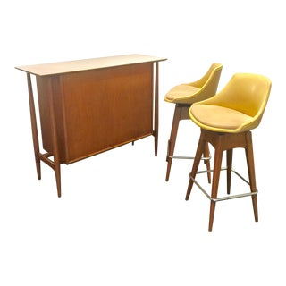 Danish Modern Teak Bar and Swivel Stools - 3 Piece Set For Sale