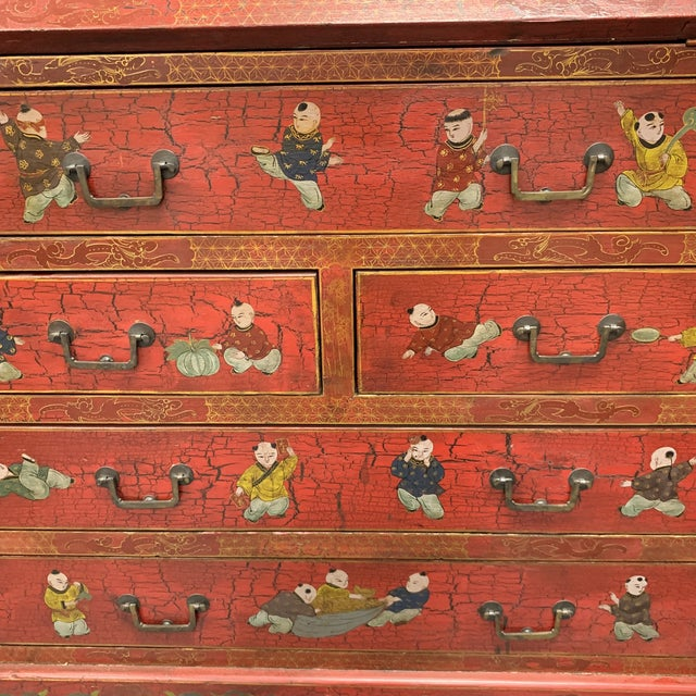 Late 20th Century 20th Century Chinoiserie Red Lacquered Bureau Bookcase For Sale - Image 5 of 13