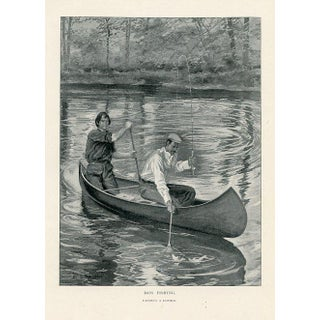"""Vintage Bass Fishing Print - """"Landing a Double"""" For Sale"""