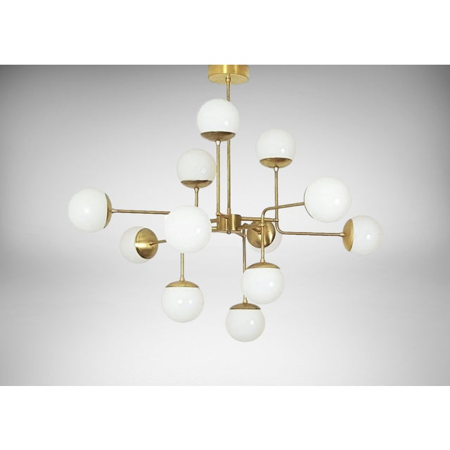 Classic Italian Modern Brass Chandelier With Glass Globes By Blue Print Lighting Model 420