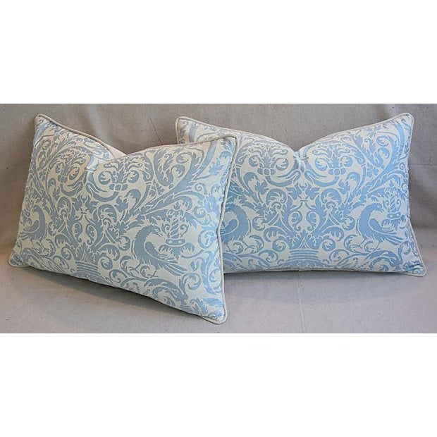 Textile Custom Tailored Italian Fortuny Uccelli Feather/Down Pillows - A Pair For Sale - Image 7 of 11