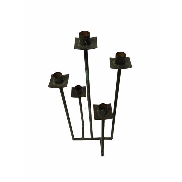 Vintage Mid-Century Black Bent Steel Candelabra / Candle Holder For Sale - Image 4 of 6