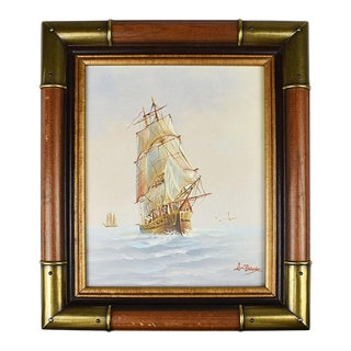 Framed Brass Nautical Maritime Oil on Canvas Painting of Ship at Sea Signed For Sale