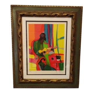 Vintage Marcel Mouly Lithograph Guitar Player, Framed For Sale