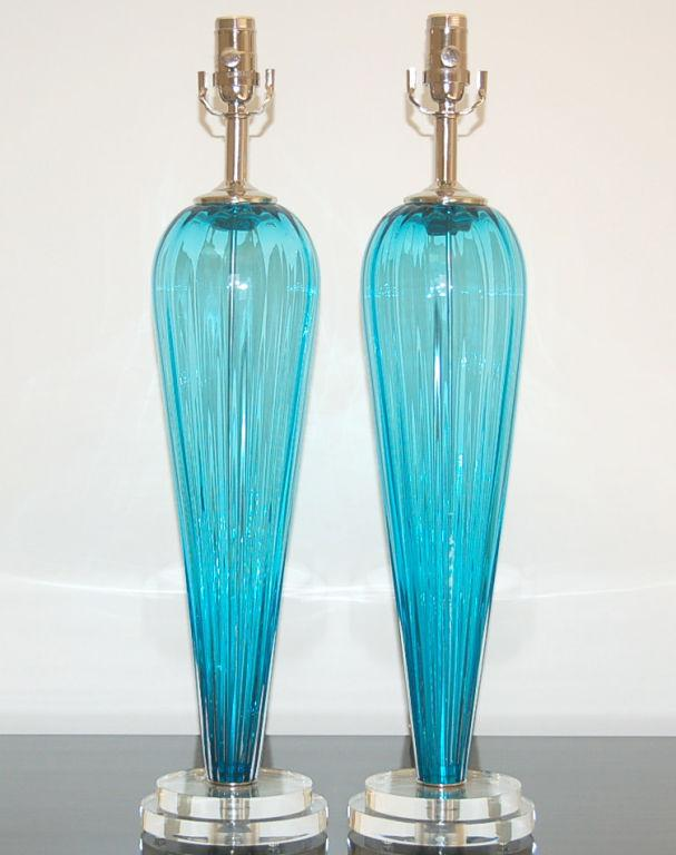 Lovely Joe Cariati Glass Table Lamps Blue Decaso
