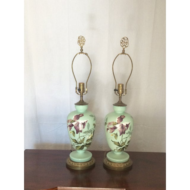 1930s 1930s Hand Painted Porcelain Lamps - a Pair For Sale - Image 5 of 12