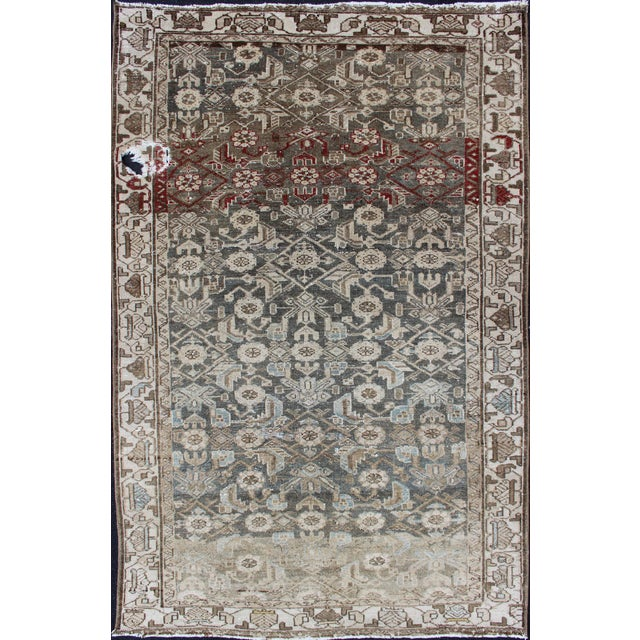 Earthy Tone Vintage Persian Hamadan Rug With All-Over Pattern For Sale - Image 12 of 12