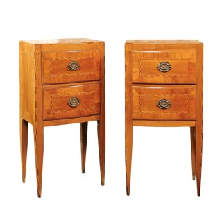 Pair of Petite Austrian Biedermeier Two-Drawer Commodes with Inlay, circa 1840