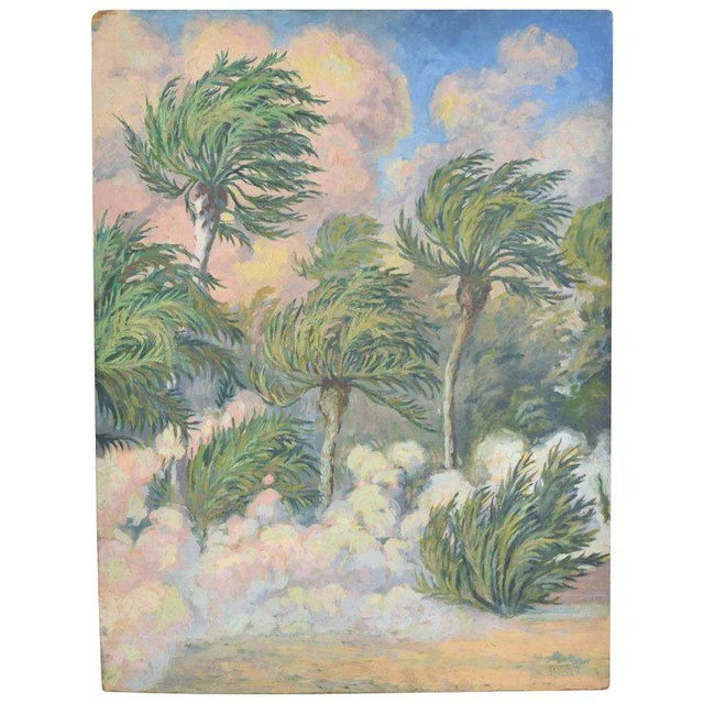 "1930's French Impressionist Oil Painting, ""Arrivee du Vent de Sable"" by Pottier For Sale - Image 4 of 4"
