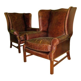 Two George III Style Wingback Chairs With Distressed Leather For Sale