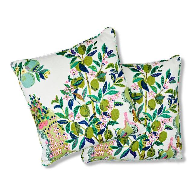 Schumacher Schumacher Citrus Garden Pillow in Lime For Sale - Image 4 of 8
