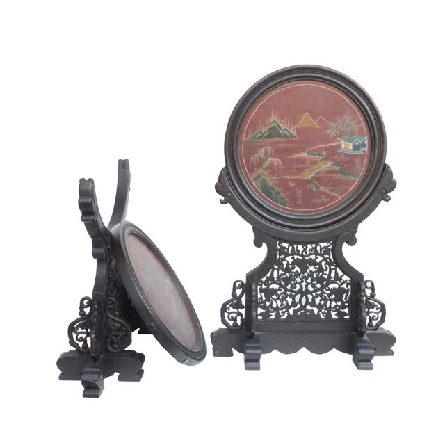 Oriental Tabletop Display Plaques- A Pair For Sale - Image 4 of 9