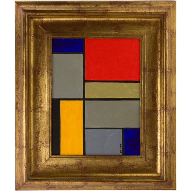 Geometric Abstract Oil on Board by Seymour Zayon For Sale In Los Angeles - Image 6 of 6