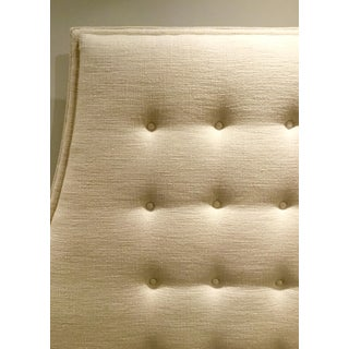 Mid-Century Modern Inspired Global Views Modern Tufted Linen Blend Avada Ivory Wayne Queen Headboard Preview