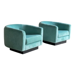 1960s Vintage Newly Reupholstered Teal Velvet Club Chairs- A Pair For Sale