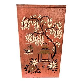 Vintage Chinoiserie Red Tole Painted Wastebasket For Sale